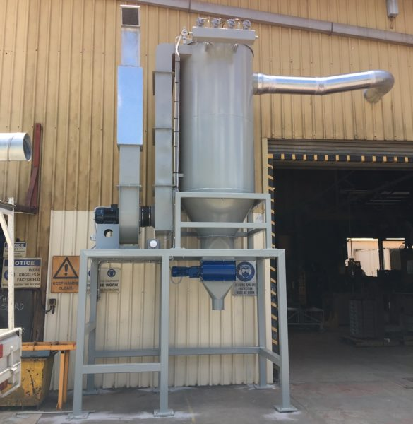 Small dust collector with rotary valve for removing waste. Custom built with noise attenuator for the fan exhaust.